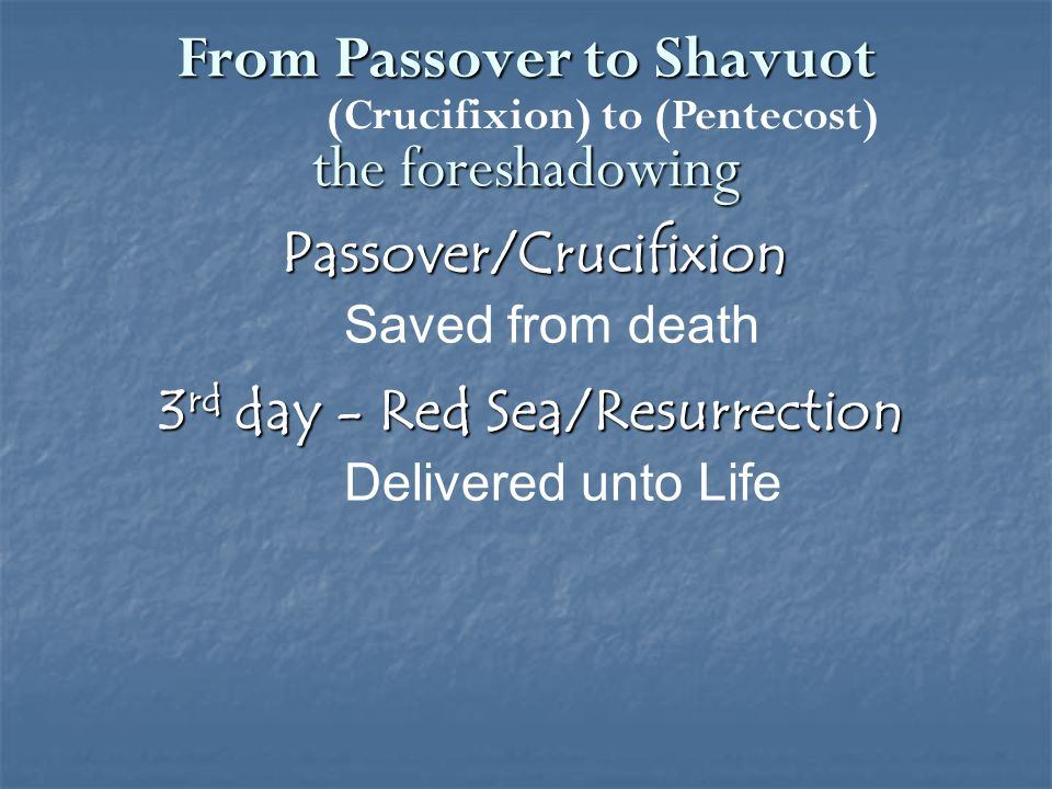 50 days – Law given to Israel/ Holy Spirit given to Church Old covenant/New Covenant I will put my law in their minds and write it on their hearts. Jeremiah 31:33 40 days – Moses on Sinai/ Jesus on earth Law/Grace From Passover to Shavuot the foreshadowing (Crucifixion) to (Pentecost)
