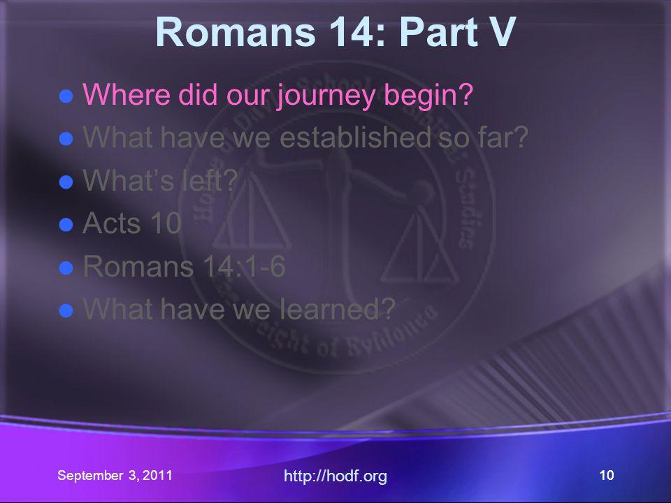 September 3, 2011 http://hodf.org 99 Where did our journey begin.