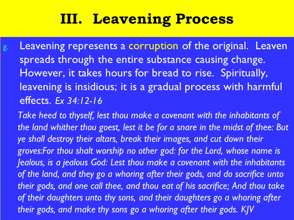 19 III. Leavening Process g. Leavening represents a corruption of the original.
