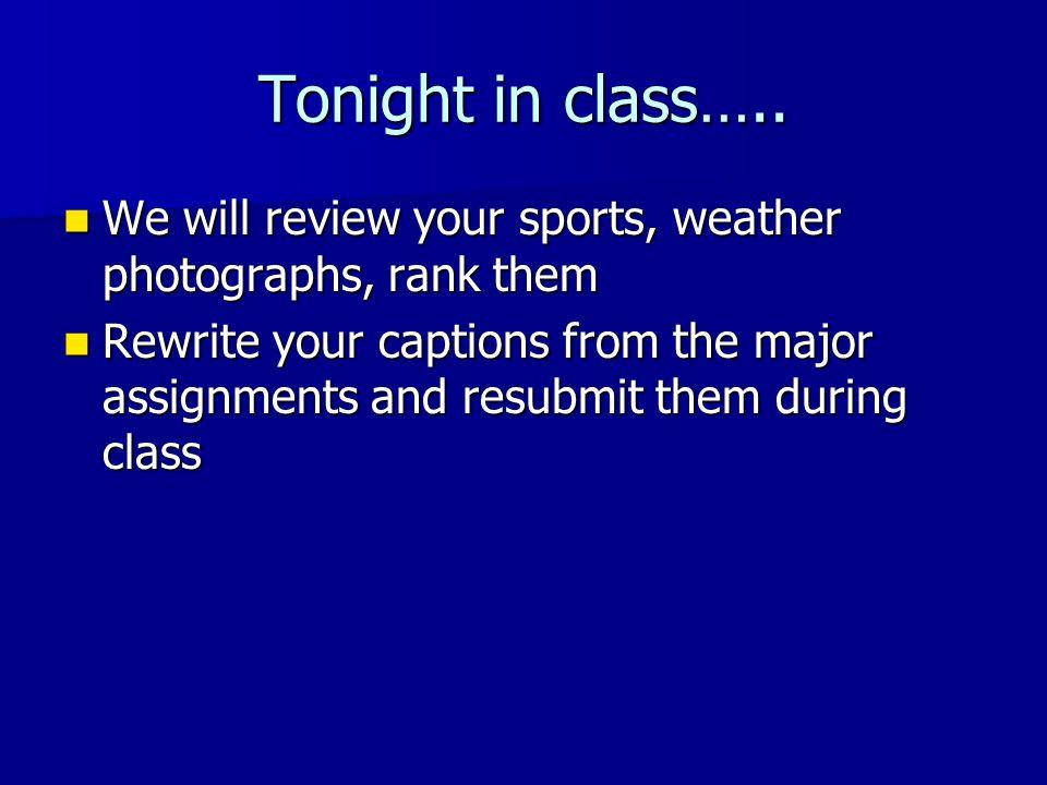 Tonight in class…..