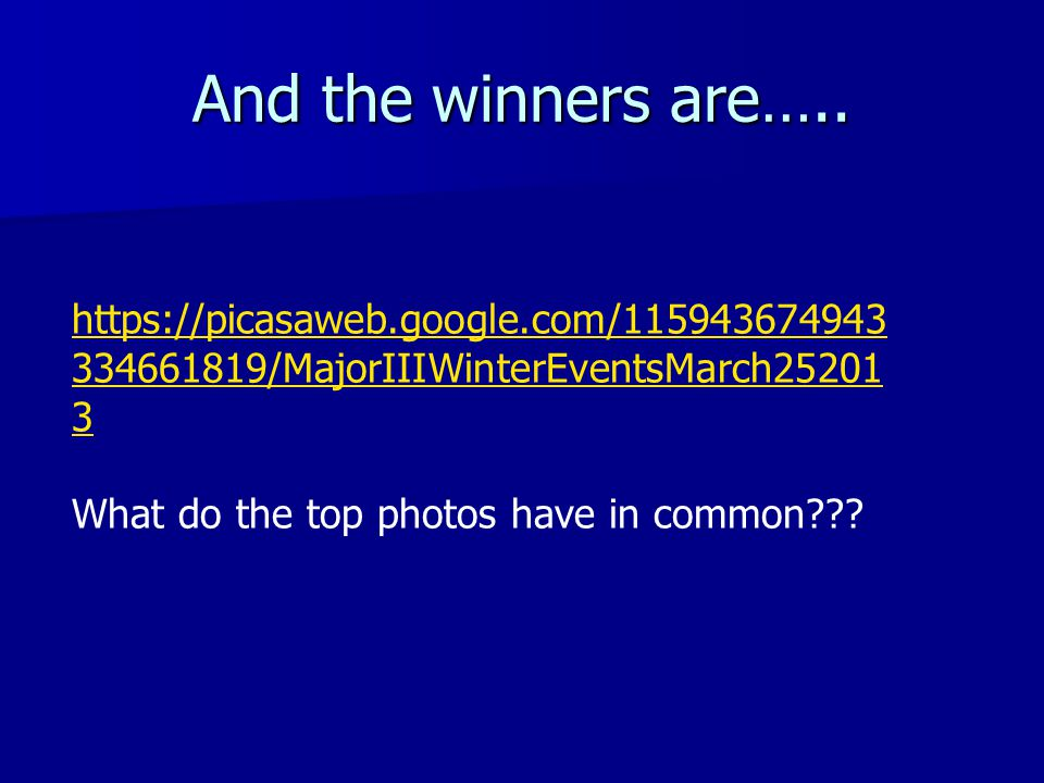 And the winners are…..