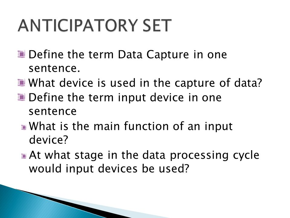Listed below are six (6) categories of Input devices: Standard Input Devices Pointing Input Devices Gaming Input Devices Scanning Input Devices Audio and Video Input Devices Other Input Devices