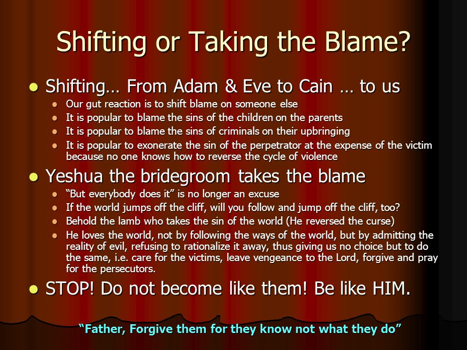 Shifting or Taking the Blame.