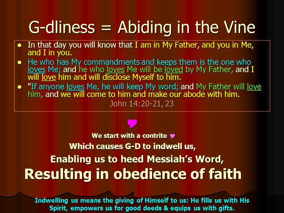 G-dliness = Abiding in the Vine In In that day you will know that I am in My Father, and you in Me, and I in you.