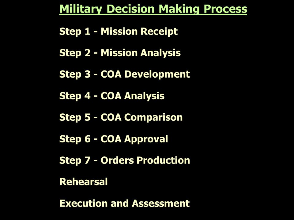 Military Decision Making Process Step 1 - Mission Receipt Step 2 - Mission Analysis Step 3 - COA Development Step 4 - COA Analysis Step 5 - COA Compar