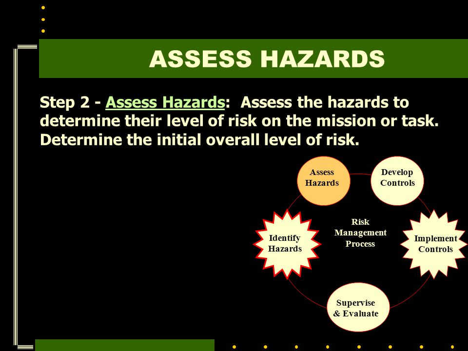 Step 2 - Assess Hazards: Assess the hazards to determine their level of risk on the mission or task. Determine the initial overall level of risk. Risk