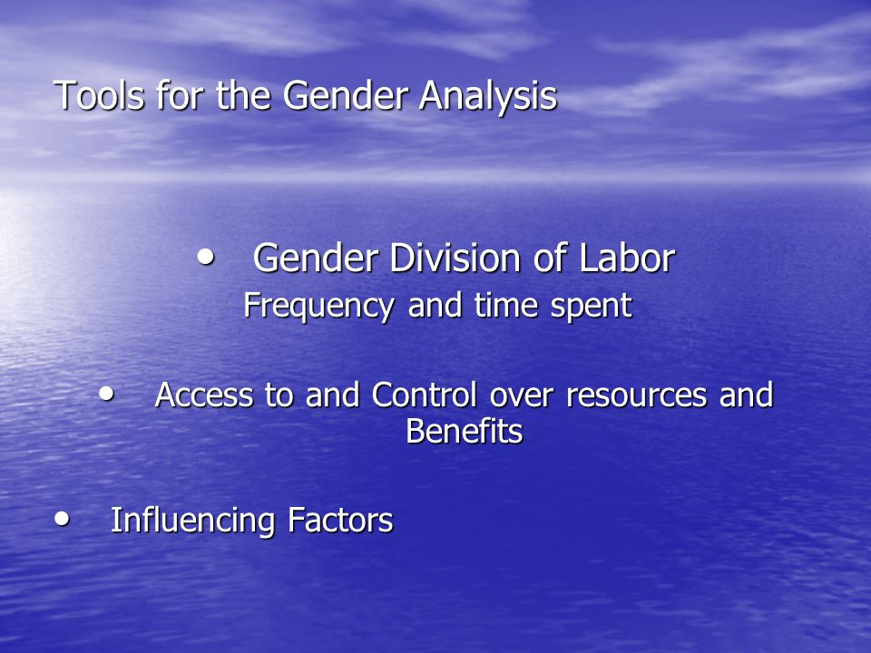 Tools for the Gender Analysis Gender Division of Labor Gender Division of Labor Frequency and time spent Access to and Control over resources and Benefits Access to and Control over resources and Benefits Influencing Factors Influencing Factors