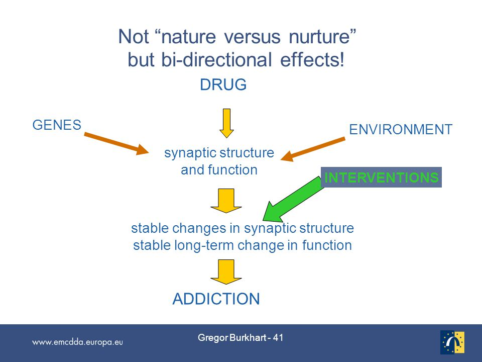 Gregor Burkhart - 41 Not nature versus nurture but bi-directional effects.