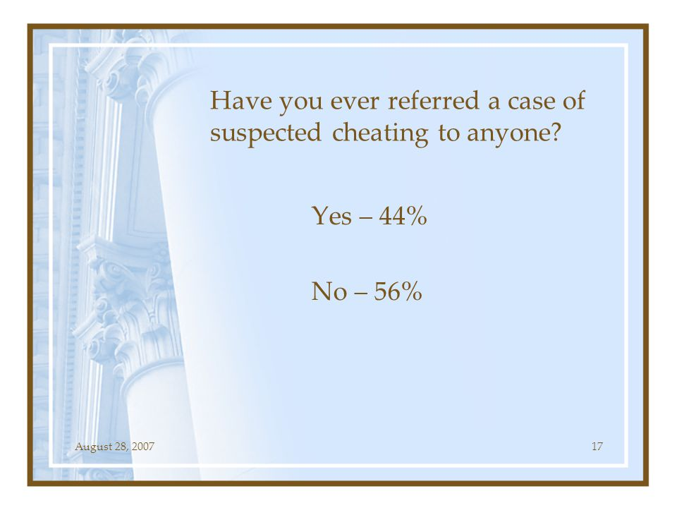 August 28, 200717 Have you ever referred a case of suspected cheating to anyone? Yes – 44% No – 56%
