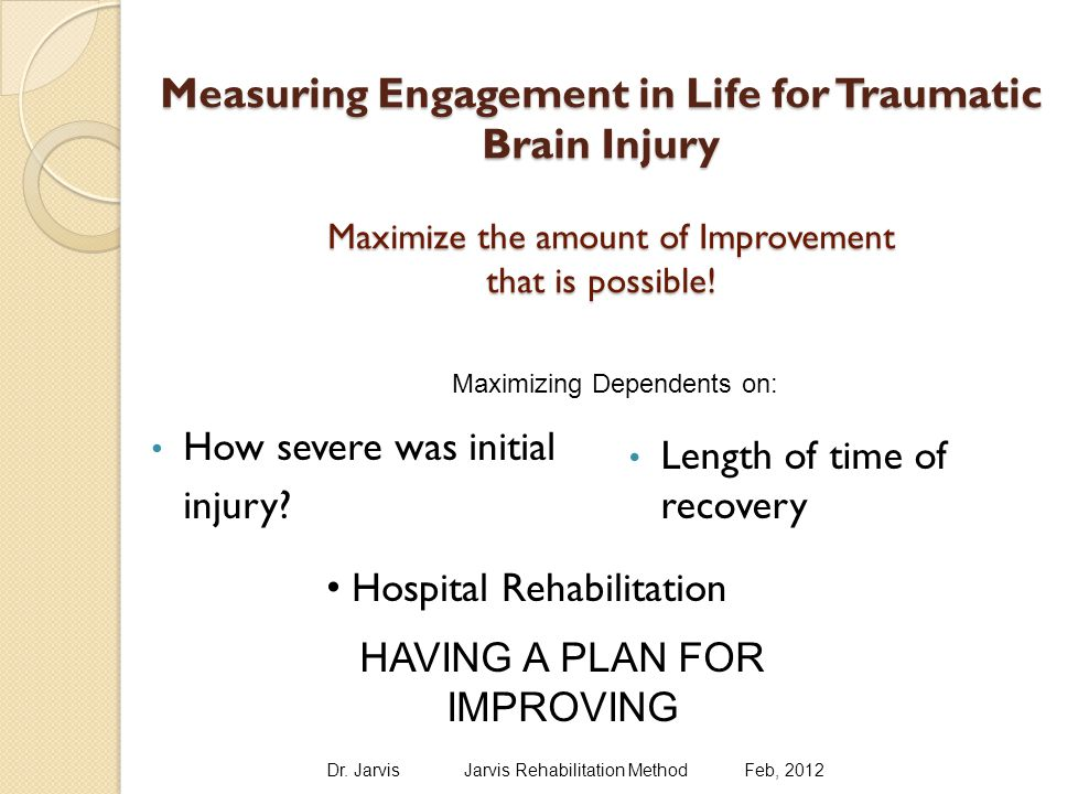Traumatic Brain Injury Improvement Through Motivation INJURY 2000 BJ SocialCognitive PhysicalPsycholo gical 6months20 12/1/200126403740 12/1/2004576963 12/1/200789918389 12/1/200996988498 6 months12/1/200112/1/200412/1/200712/1/200 9 Total Average % Improvement 2036638894 for all dimensions simultaneously Dr.