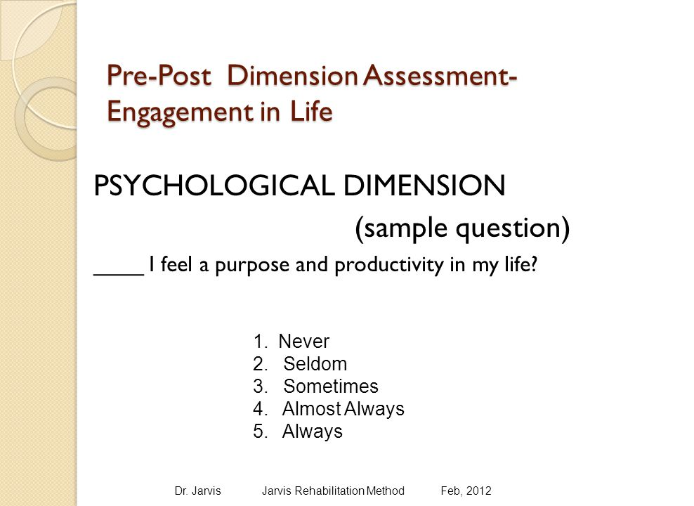 Pre-Post Dimension Assessment- Engagement in Life PSYCHOLOGICAL DIMENSION (sample question) ____ I feel a purpose and productivity in my life.