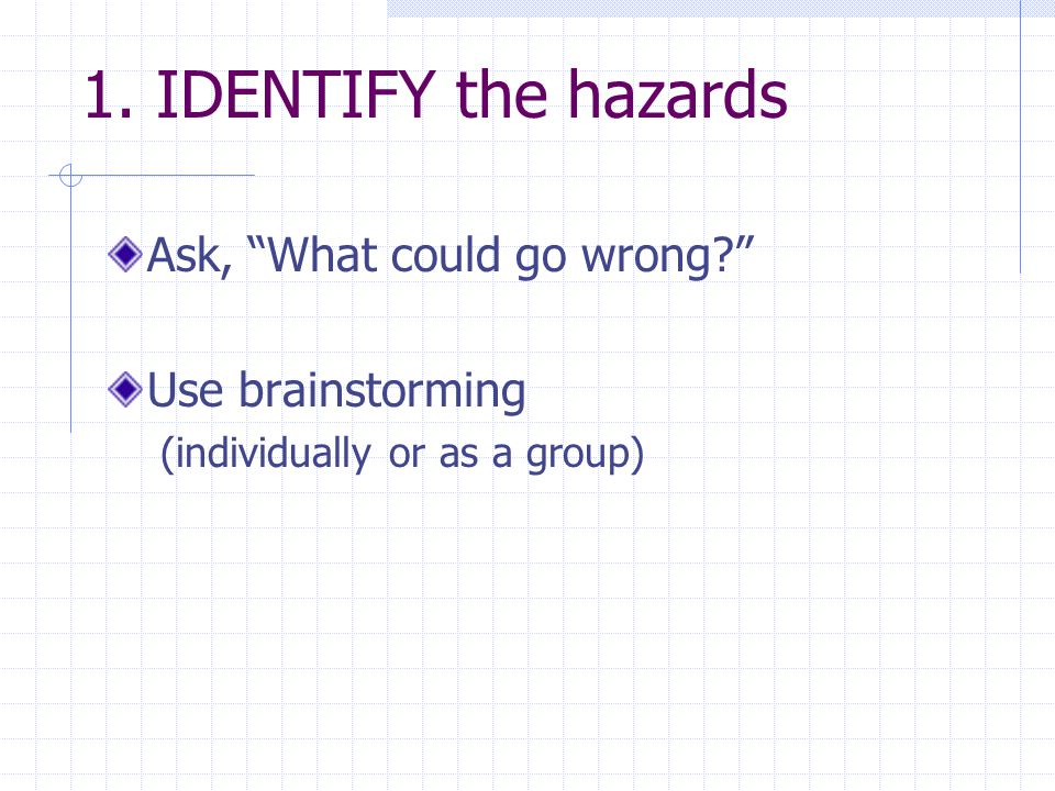 1. IDENTIFY the hazards Ask, What could go wrong? Use brainstorming (individually or as a group)