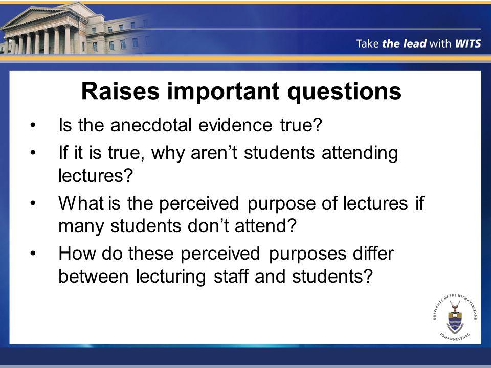 Possible factors in non-attendance Lecturer characteristics (poor lecturing methods, boring style, etc.) Student characteristics (motivation, ability, perceptions, etc.) Extraneous factors (finances, etc.)