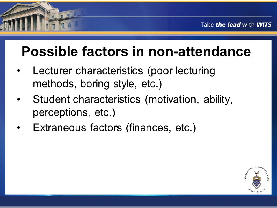 Possible factors in non-attendance Lecturer characteristics (poor lecturing methods, boring style, etc.) Student characteristics (motivation, ability, perceptions, etc.) Extraneous factors (finances, etc.)