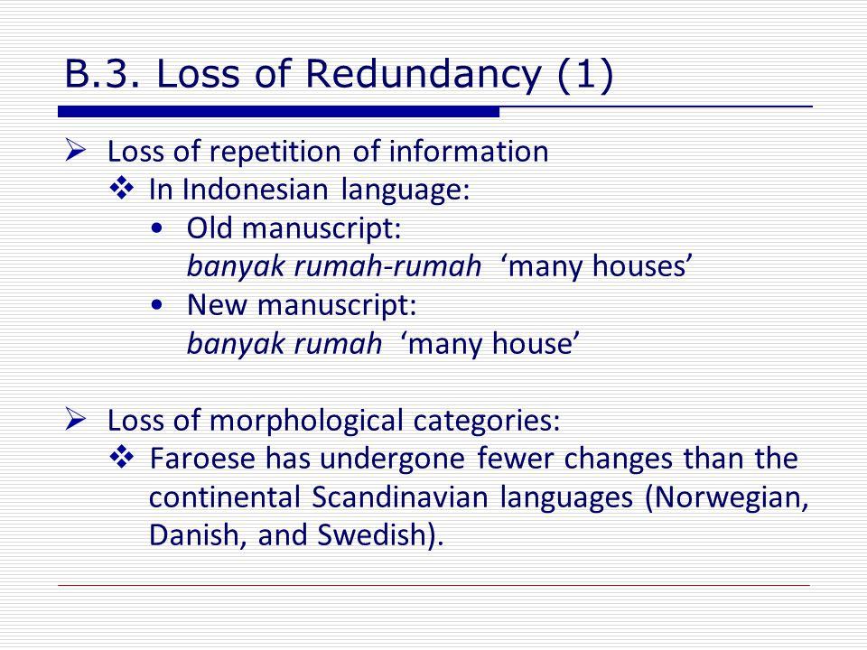 B.3. Loss of Redundancy (1)  Loss of repetition of information  In Indonesian language: Old manuscript: banyak rumah-rumah 'many houses' New manuscr
