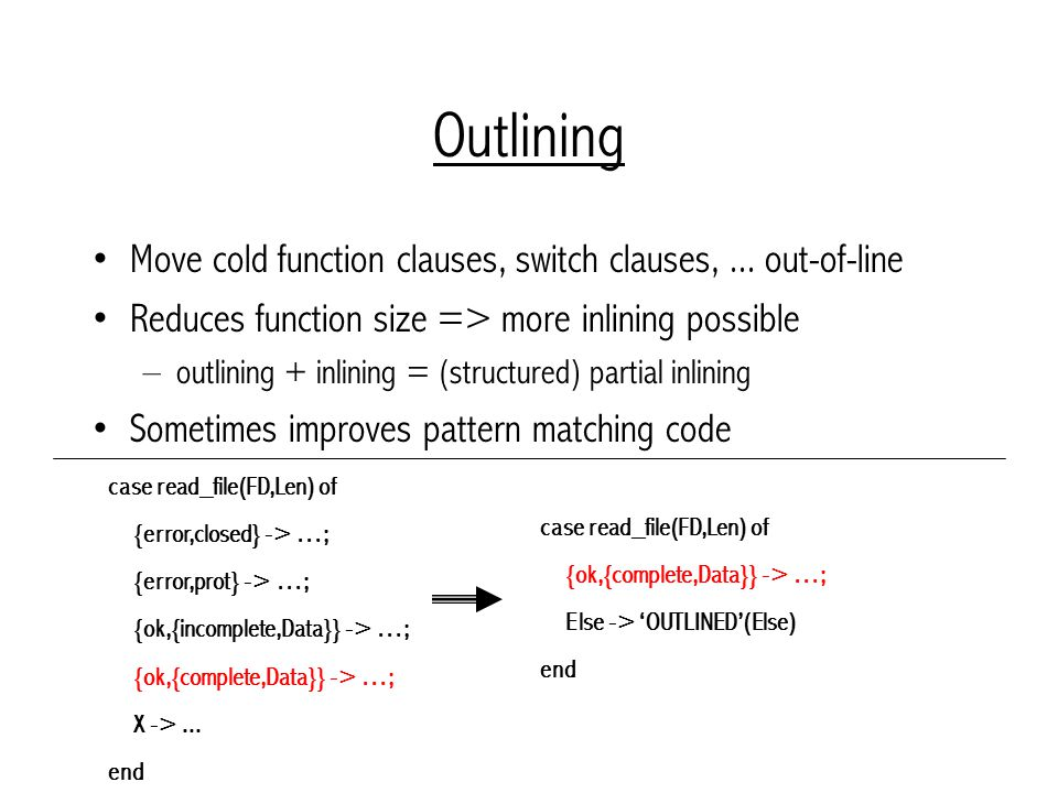 Outlining Move cold function clauses, switch clauses,...