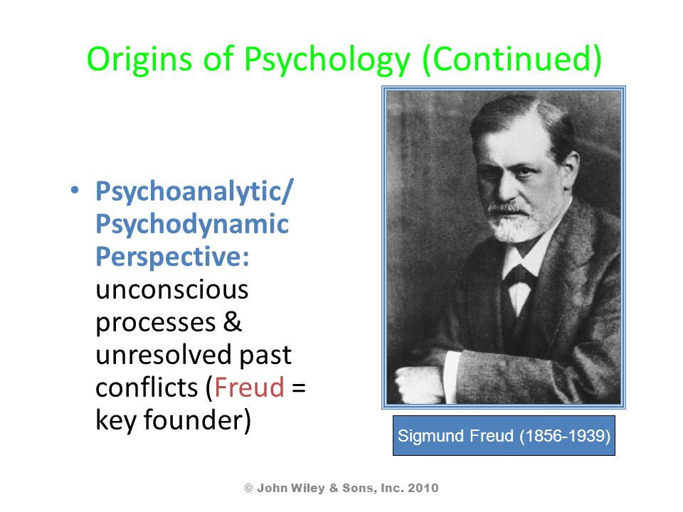 Origins of Psychology (Continued) Psychoanalytic/ Psychodynamic Perspective: unconscious processes & unresolved past conflicts (Freud = key founder) © John Wiley & Sons, Inc.
