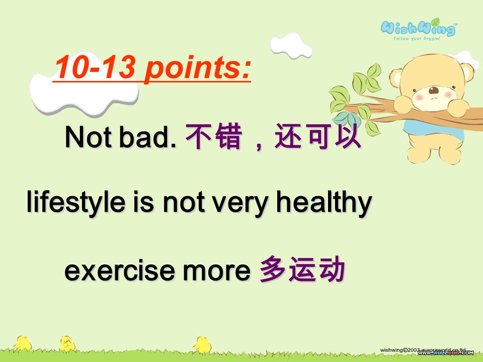 10-13 points: lifestyle is not very healthy exercise more 多运动 Not bad. 不错,还可以