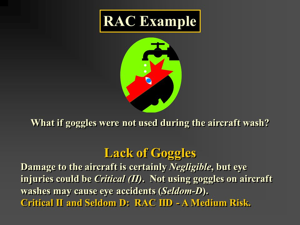 RAC Example What if goggles were not used during the aircraft wash.