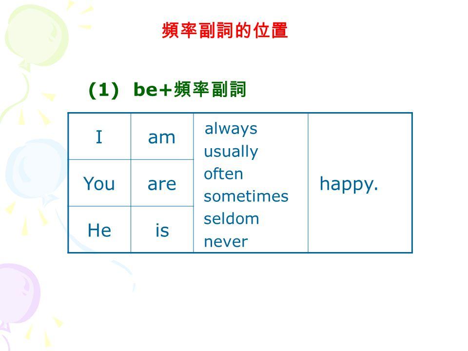 頻率副詞的位置 Iam always usually often sometimes seldom never happy. Youare Heis (1) be+ 頻率副詞