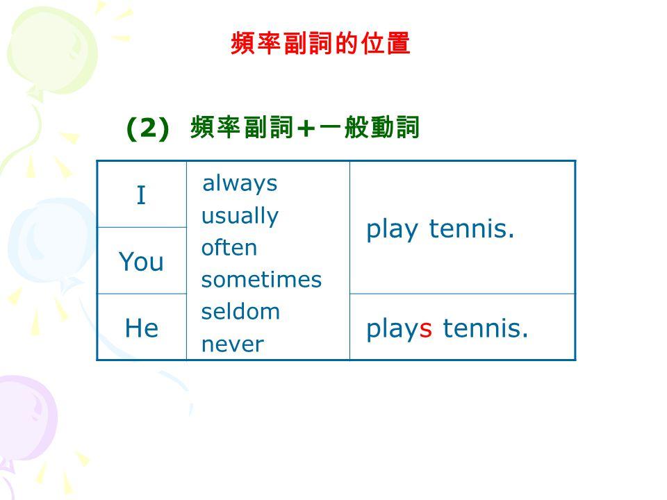 頻率副詞的位置 I always usually often sometimes seldom never play tennis.