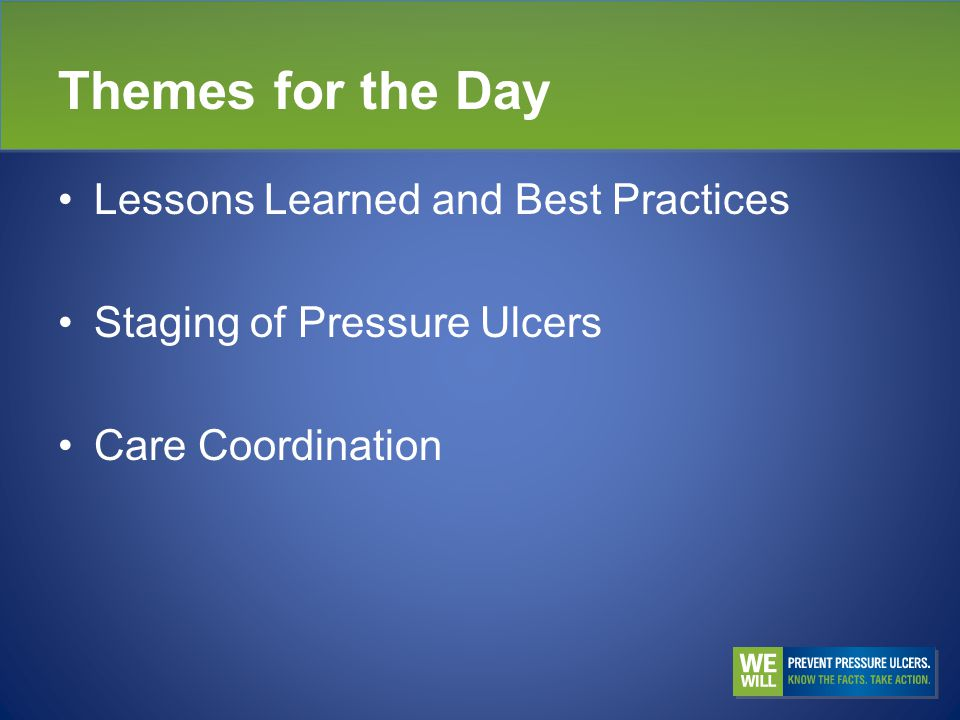 Themes for the Day Lessons Learned and Best Practices Staging of Pressure Ulcers Care Coordination