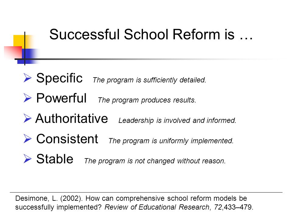 Successful School Reform is …  Specific The program is sufficiently detailed.