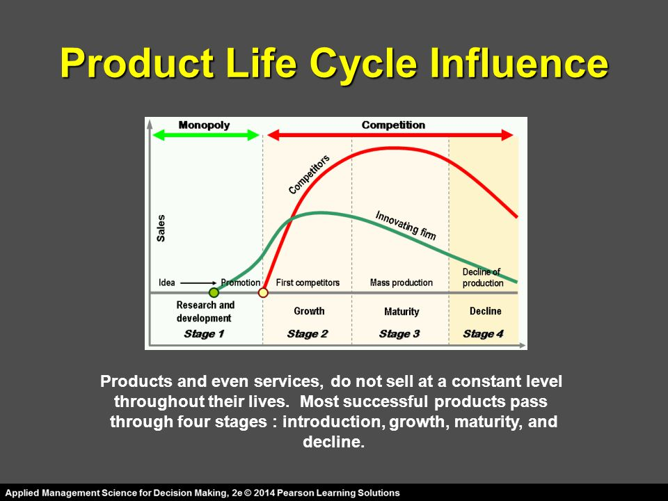 Product Life Cycle Influence Products and even services, do not sell at a constant level throughout their lives.