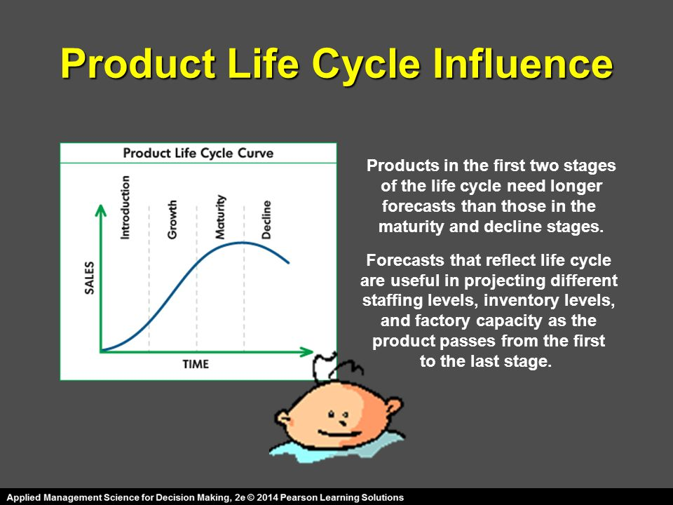 Product Life Cycle Influence Products in the first two stages of the life cycle need longer forecasts than those in the maturity and decline stages. F