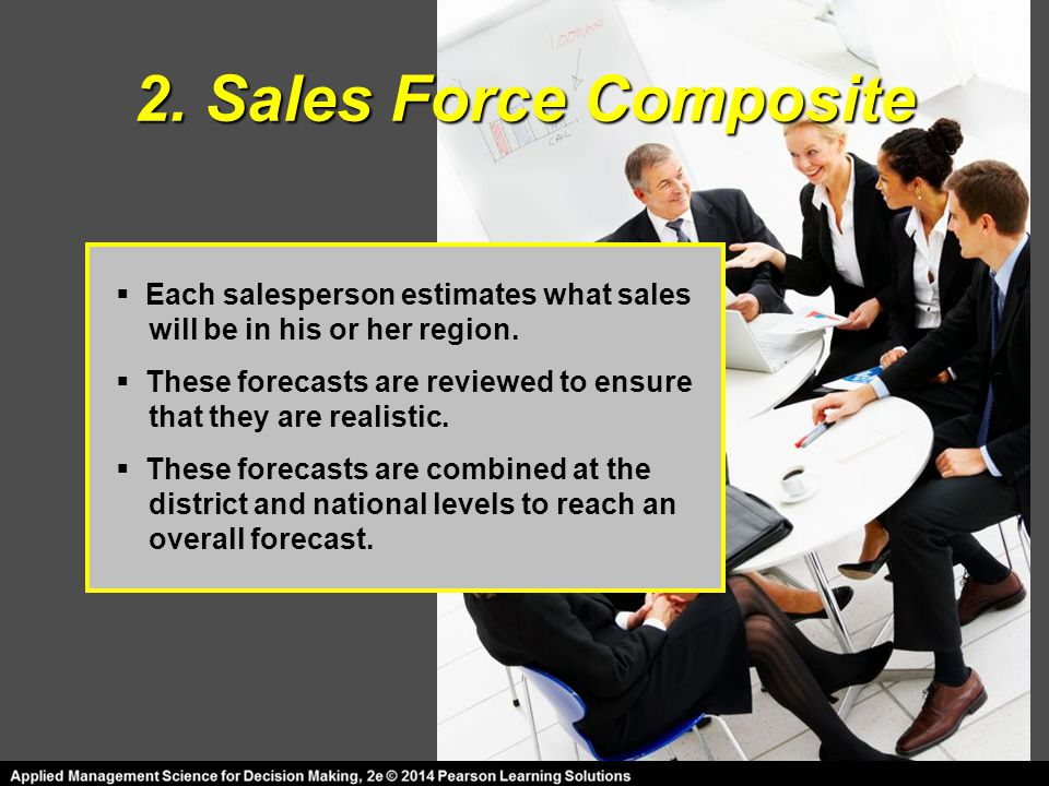 2. Sales Force Composite  Each salesperson estimates what sales will be in his or her region.  These forecasts are reviewed to ensure that they are