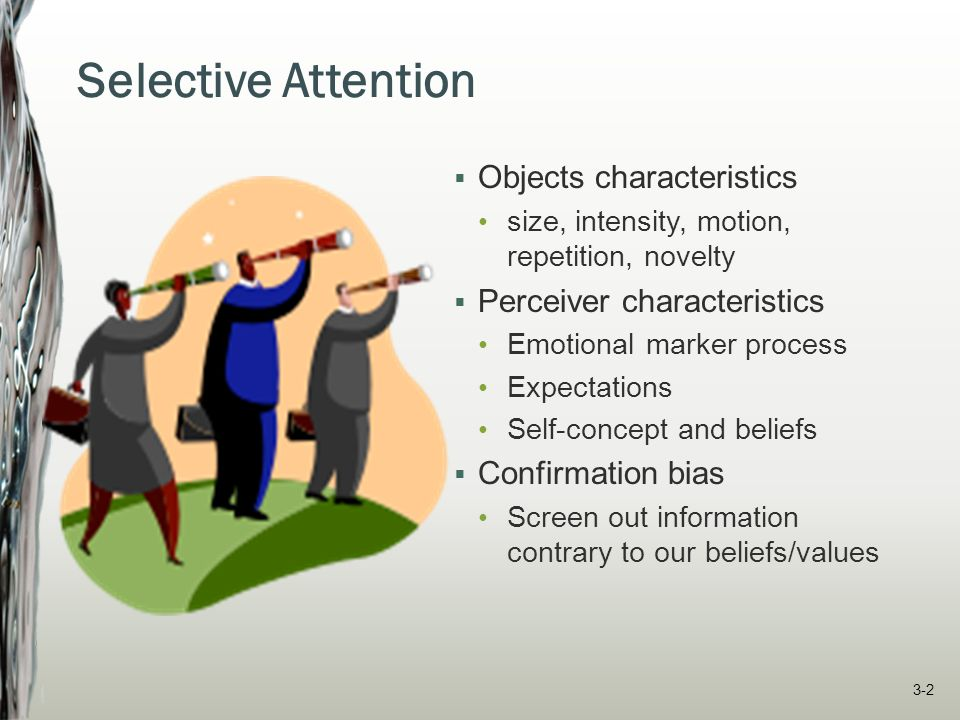 Selective Attention  Objects characteristics size, intensity, motion, repetition, novelty  Perceiver characteristics Emotional marker process Expect