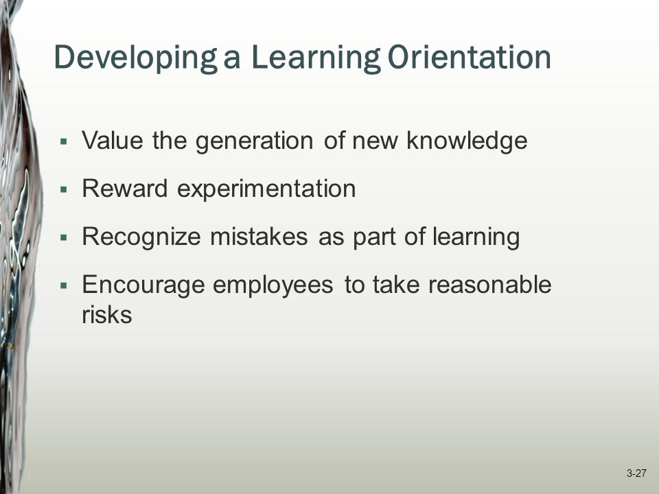 Developing a Learning Orientation  Value the generation of new knowledge  Reward experimentation  Recognize mistakes as part of learning  Encourag