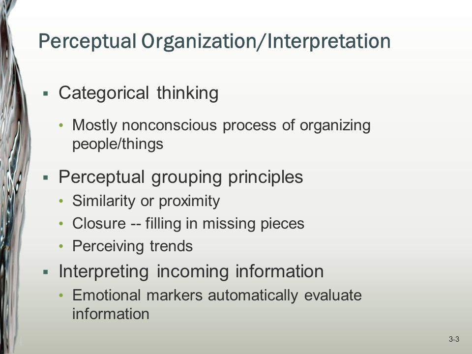 Perceptual Organization/Interpretation  Categorical thinking Mostly nonconscious process of organizing people/things  Perceptual grouping principles