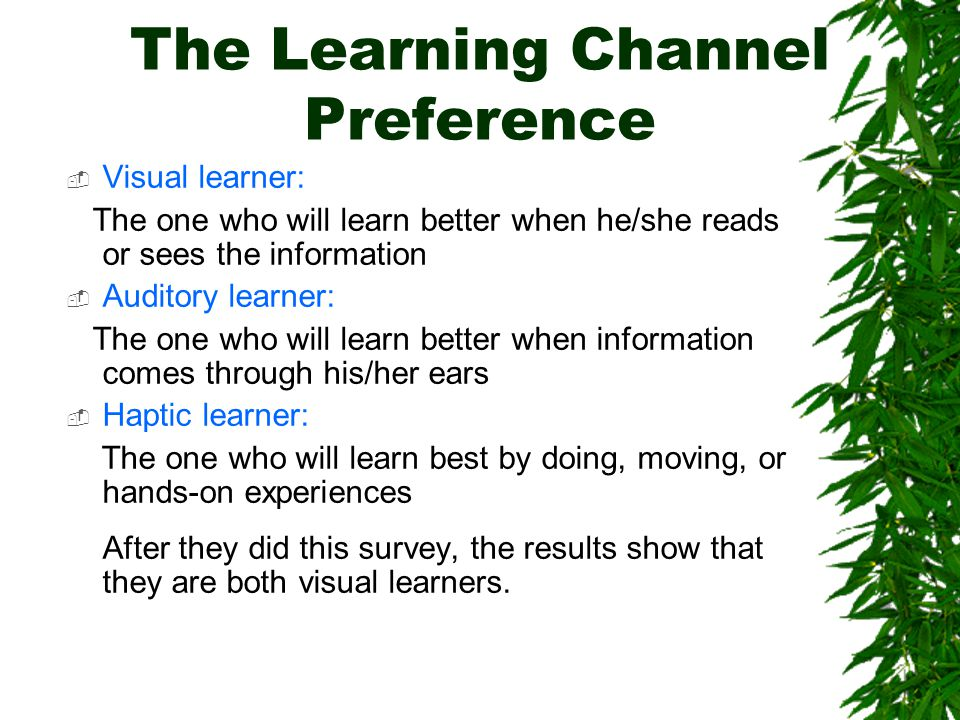 The Learning Channel Preference  Visual learner: The one who will learn better when he/she reads or sees the information  Auditory learner: The one who will learn better when information comes through his/her ears  Haptic learner: The one who will learn best by doing, moving, or hands-on experiences After they did this survey, the results show that they are both visual learners.