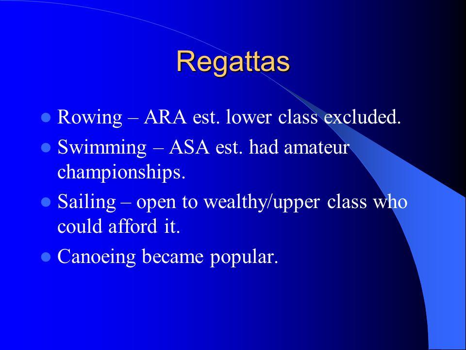 Regattas Rowing – ARA est. lower class excluded. Swimming – ASA est.