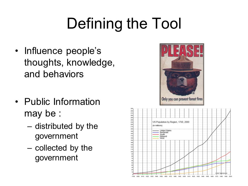 Evaluating Public Information as a Governmental Tool Effectiveness continued: 2) Public Information Campaigns- attempt to change what people think in order to change a specific behavior -difficult to measure effectiveness (was message received, received by target audience, message understood, was action taken as a result?)