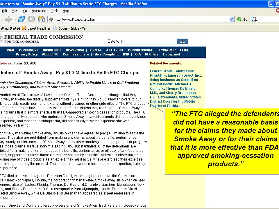 """The FTC alleged the defendants did not have a reasonable basis for the claims they made about Smoke Away or for their claims that it is more effectiv"