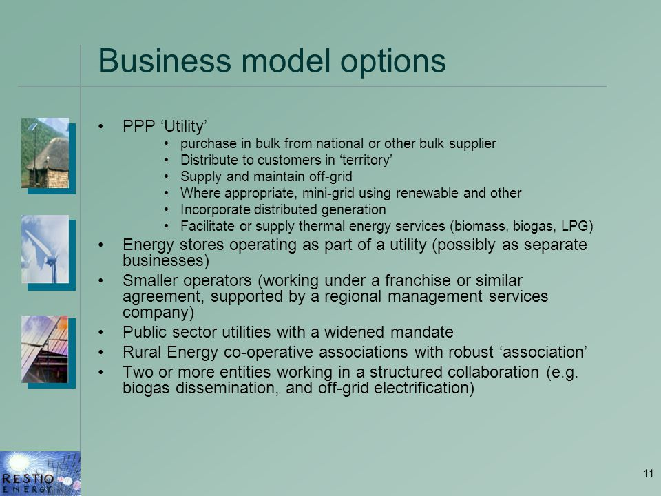 11 Business model options PPP 'Utility' purchase in bulk from national or other bulk supplier Distribute to customers in 'territory' Supply and mainta