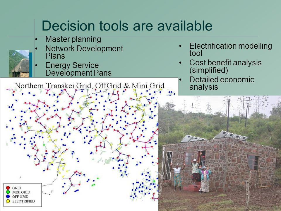 19 Decision tools are available Master planning Network Development Plans Energy Service Development Pans Electrification modelling tool Cost benefit