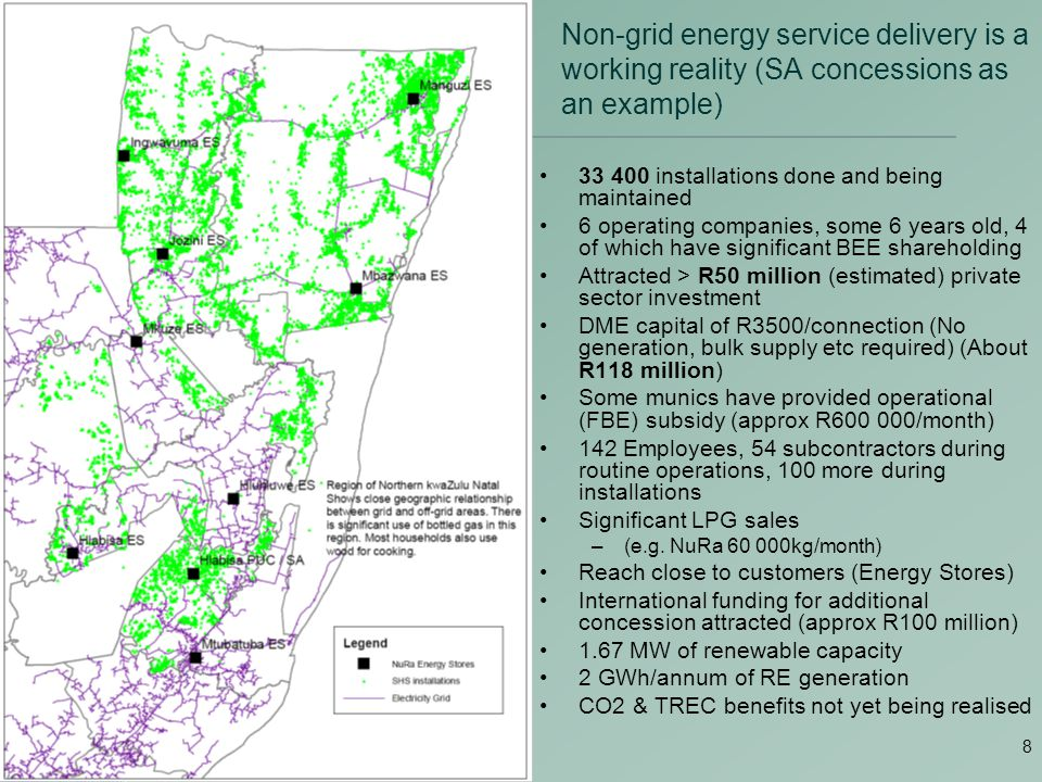 8 Non-grid energy service delivery is a working reality (SA concessions as an example) 33 400 installations done and being maintained 6 operating companies, some 6 years old, 4 of which have significant BEE shareholding Attracted > R50 million (estimated) private sector investment DME capital of R3500/connection (No generation, bulk supply etc required) (About R118 million) Some munics have provided operational (FBE) subsidy (approx R600 000/month) 142 Employees, 54 subcontractors during routine operations, 100 more during installations Significant LPG sales –(e.g.
