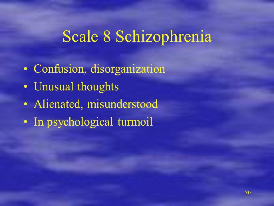 30 Scale 8 Schizophrenia Confusion, disorganization Unusual thoughts Alienated, misunderstood In psychological turmoil