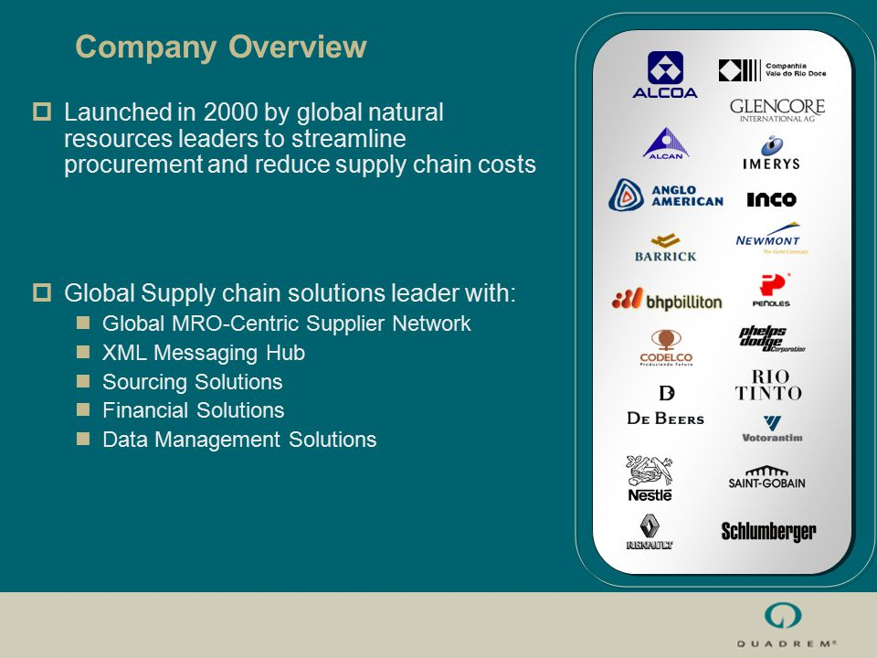  Launched in 2000 by global natural resources leaders to streamline procurement and reduce supply chain costs  Global Supply chain solutions leader with: Global MRO-Centric Supplier Network XML Messaging Hub Sourcing Solutions Financial Solutions Data Management Solutions Company Overview
