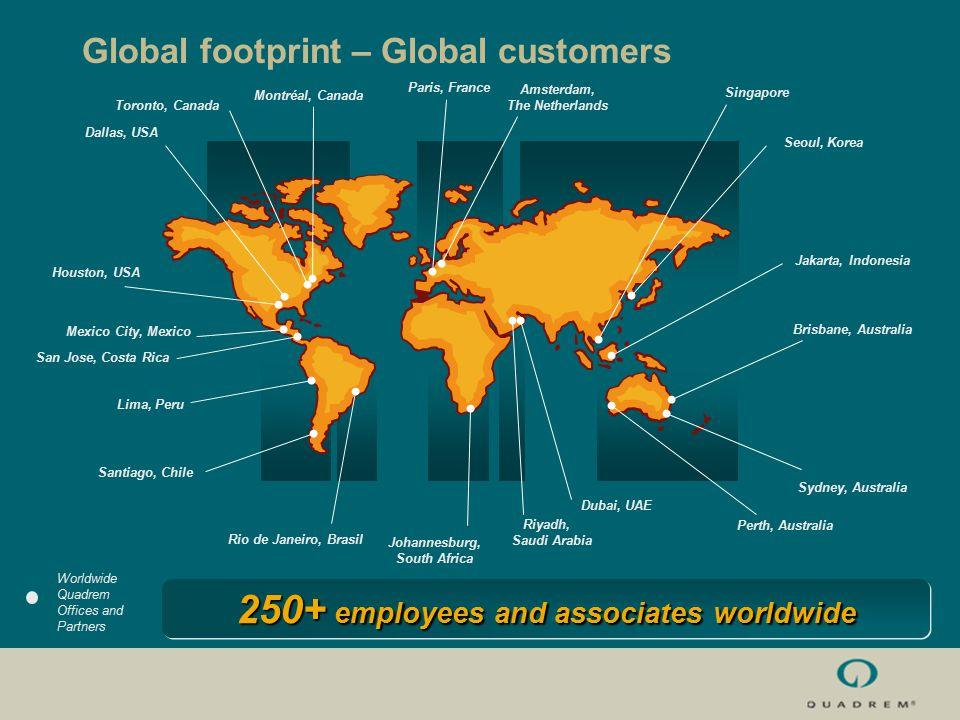 Global footprint – Global customers Worldwide Quadrem Offices and Partners Santiago, Chile Lima, Peru Johannesburg, South Africa Dubai, UAE Riyadh, Sa