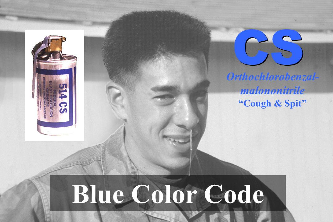 Orthochlorobenzal- malononitrile Cough & Spit Blue Color Code CS