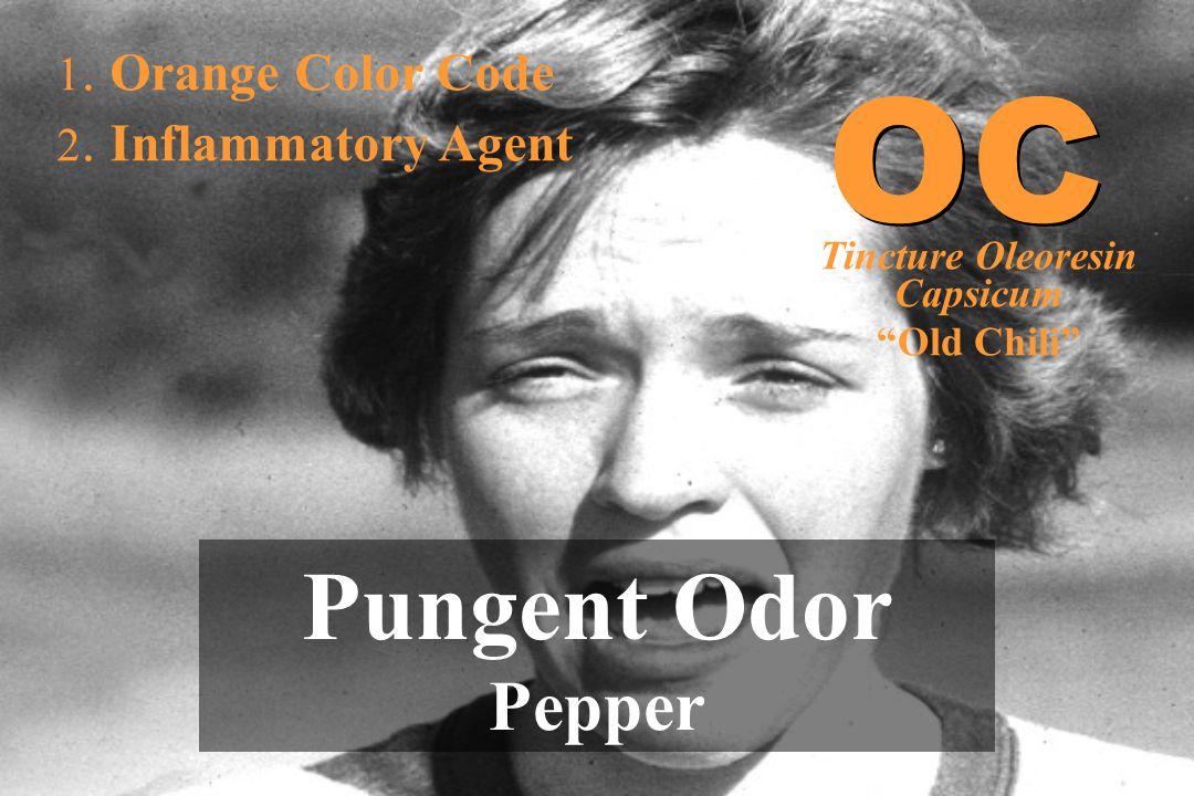 """1. Orange Color Code 2. Inflammatory Agent Pungent Odor Pepper OC Tincture Oleoresin Capsicum """"Old Chili"""""""
