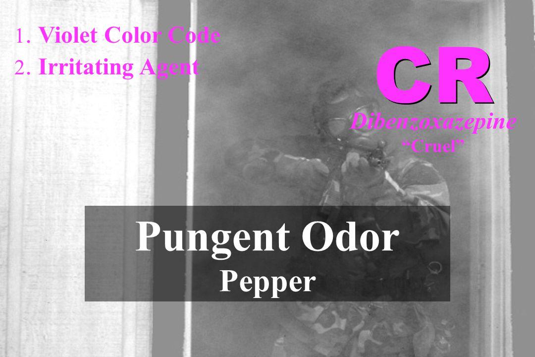 "1. Violet Color Code 2. Irritating Agent Pungent Odor Pepper CR Dibenzoxazepine ""Cruel"""