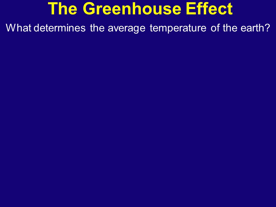 The Greenhouse Effect What determines the average temperature of the earth?