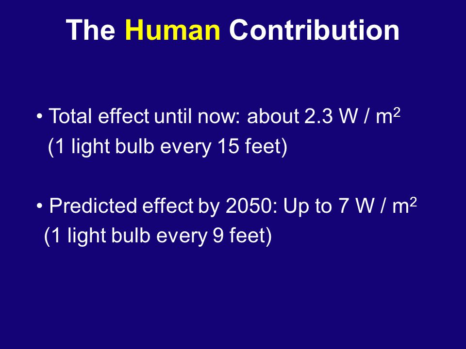 The Human Contribution Total effect until now: about 2.3 W / m 2 (1 light bulb every 15 feet) Predicted effect by 2050: Up to 7 W / m 2 (1 light bulb