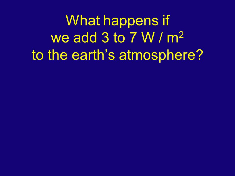 What happens if we add 3 to 7 W / m 2 to the earth's atmosphere?