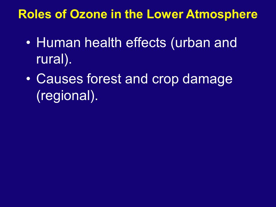 Roles of Ozone in the Lower Atmosphere Human health effects (urban and rural). Causes forest and crop damage (regional).